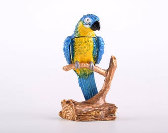 Parrot Trinket Box Decorated with Swarovski Crystals by Keren Kopal Enamel Painted Decorated with Swarovski Crystals