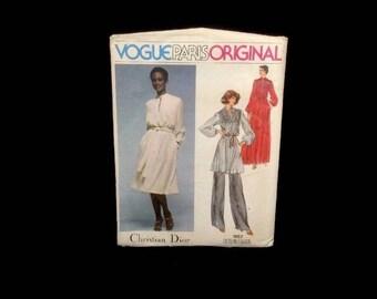 Vintage Vogue Sewing Pattern Uncut No. 1567 Christian Dior Dress Top Pants Sz 12