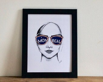 Montreal glasses / / Illustration / / Portrait / / Art print / / memory Montreal / / Montreal art