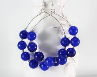 Blue earrings, Blue beaded earrings, Big hoop earrings, Statement earrings