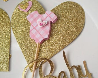 Pink Onesie Cupcake Toppers - It's a Girl - Baby Shower topper - Baby Girl - Cupcake Topper - Pink Onesie with Heart - Pink Baby Shower 12pc