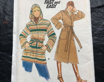 Vintage 1970s Coat Pattern // Butterick 5658 > Size 14 > collar or hood, loose fitting, pockets