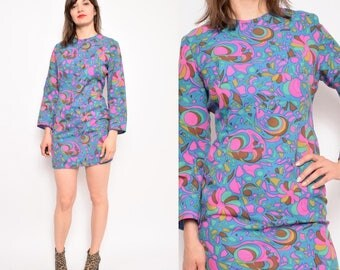 Vintage 70's Abstrct Print Mini Dress / Long Sleeve Psychedelic Print Dress - Size Small