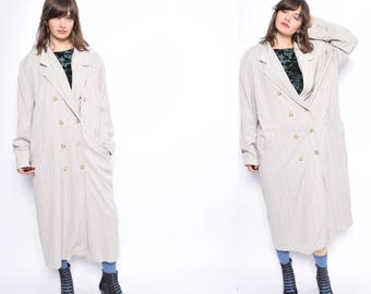 Vintage 80's Pinstriped Beige Oversized Coat / Beige Button Long Coat - Size Extra Large