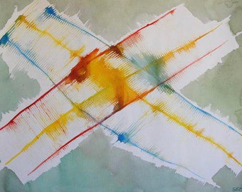 25% OFF SALE - Abstract Watercolor by Jacob Semiatin, Listed Artist