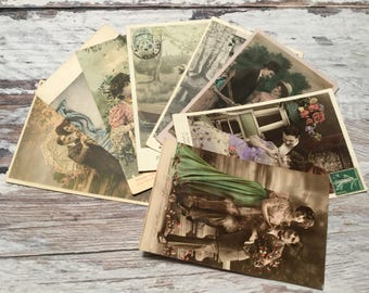 Romantic Couple Postcards . Vintage French Postcard Lot . Set of 8 Vintage Postcards .  Vintage Postcard Pack .