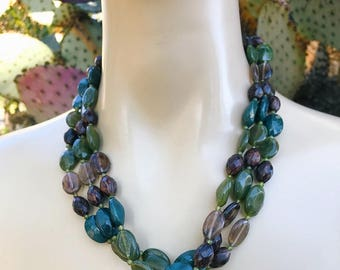 Floral Earth Tone 3 Tiered Beaded Necklace