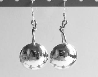 Hammered bowls silver earrings