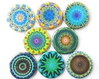 Mandala Magnets, Talavera Magnets, Refrigerator Magnets, Fridge Magnets, Decorative Mandalas Magnets, Teals Blues Mandalas Magnets, 8/Set