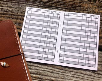 Traveler's Notebook A6 Size Checkbook Register Style Inserts