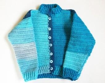 Kids Crochet Sweater, crochet sweater, sweater, winter sweater, blue sweater