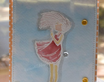 Girl Blowing in Wind Card