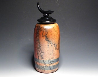 Burnt Orange Horsehair Raku Vase with Black Glaze