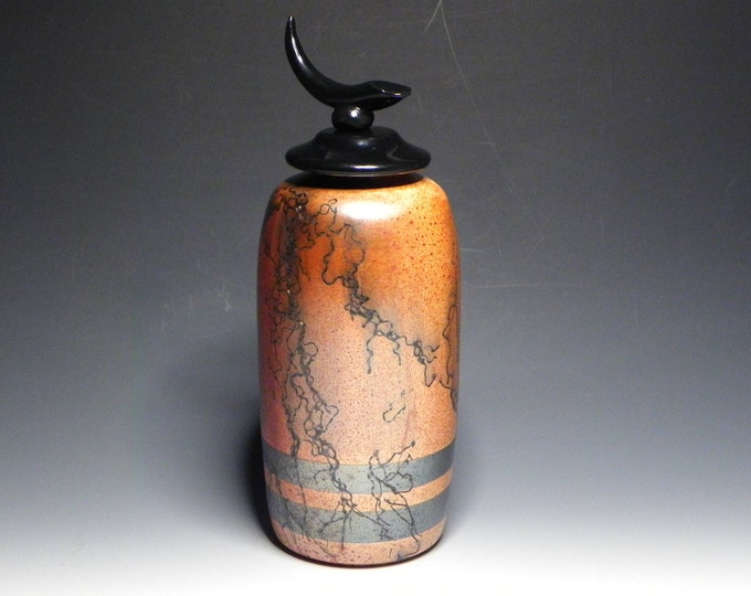 Featured listing image: Burnt Orange Horsehair Raku Vase with Black Glaze