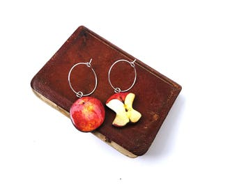 Teacher appreciation gift, apple, apple accessories, apple jewellery, fun jewellery, odd earrings, mismatched earrings, earrings, quirky