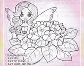 African Violets Fairy Sweet Demure Flower Fae Faery UNCOLORED Digital Stamp Coloring Page Craft Cardmaking Papercrafting DIY