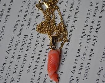 Vintage 10k Pink Coral Pendant - 1960s Carved Coral Pendant, 10k Chain