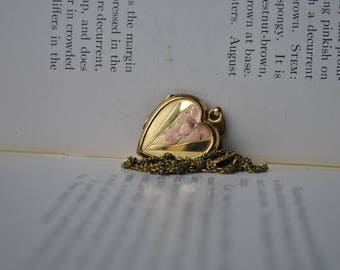 Vintage Gold Filled Heart Locket - 1960s Mid Century Heart Flower Locket