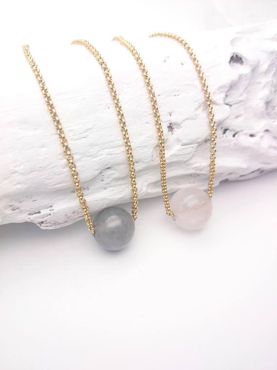 Rose Quartz or Cloudy Gray Quartz single bead necklace//Gemstone pendant gray or pink//Gold steel chain minimalist hypoallergenic necklace