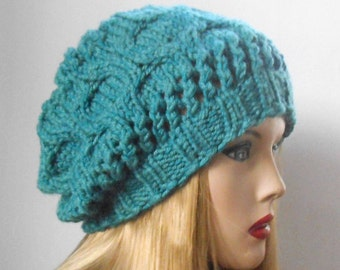 Beautiful and Soft Wool Hat in Aquamarine. Hand Made Hat. Winter Women Hat. Slouchy Hat. Oversized Beret.