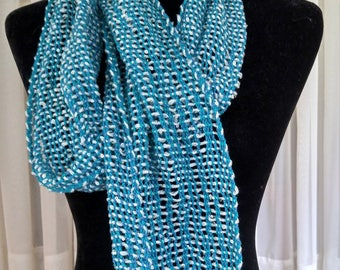 Hand-woven lightweight blue green mesh lace scarf   blue green lace scarf    light scarf   blue woven scarf   gift for her   lace scarf