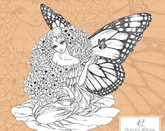 PNG Digital Stamp - Romanza - Monarch Butterfly Fairy with Poppies - digistamp instant donwload - Fantasy Line Art for Cards & Crafts