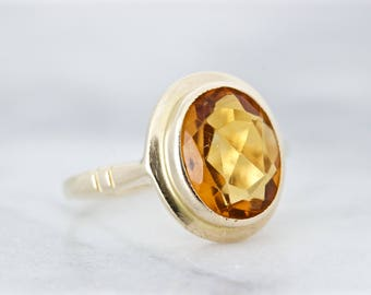 English Cocktail Ring | Citrine Engagement Ring | Solitaire Gemstone Ring | 9k Yellow Gold Ring | November Birthstone Jewelry | Size 4.25
