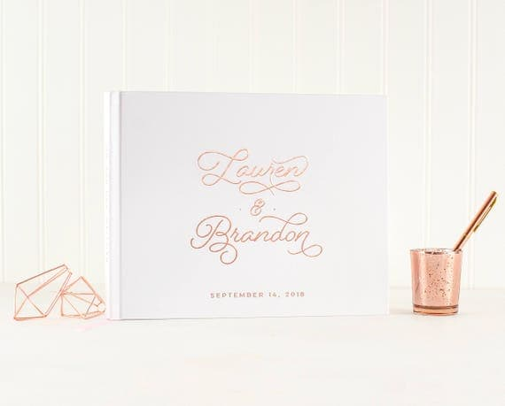 Wedding Guest Book Rose Gold Foil wedding guestbook rose gold wedding album sign in book hardcover guest book personalized photo guest book