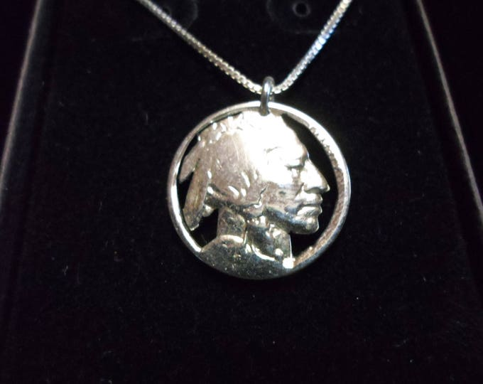 Indian head nickle necklace w/sterling silver chain