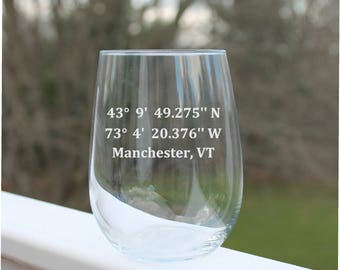 GPS coordinates, stemless wine glasses, etched wine Glasses, etched wine glass,  Etched - 17oz, Wine Glasses, stemless wine glass etched