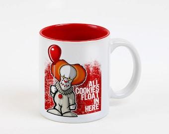 IT, Stephen King Inspired Coffee Mug, White and Red Mug, Horror, Clown, Scary, Halloween, movie, TV, Film, Tea Cup