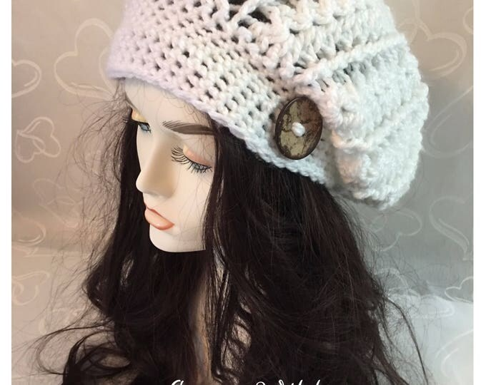 White Crocheted Slouchy Hat-Newsboy Cap-Women's accessories -