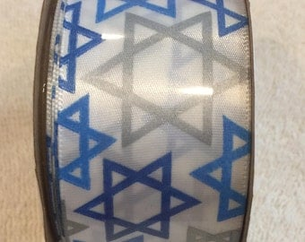 "Hanukkah Ribbon, Star Of David, 1 1/2"" 3 Yds, 9ft, Holiday Wreath Making Crafts DIY Floral Bow Blue White Jewish Judaica 9092C"