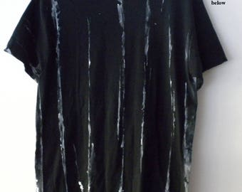 Black and White Tee shirt, Graphic Tee shirt, tie dye, acid wash, Grunge, retro, Rocker, hand painted, dip dye, Gift under 15, stripe