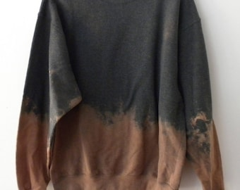 Gray Crewneck Sweatshirt, Acid wash sweatshirt, dip dye crewneck sweatshirt, Grunge, tie dye, sweater, jumper, hipster, boho, retro