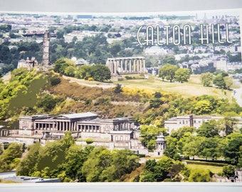 Edinburgh Print, Edinburgh Art Poster, Calton Hill, Edinburgh Castle Print, Edinburgh Castle, Edinburgh Skyline, Scottish Print, A4