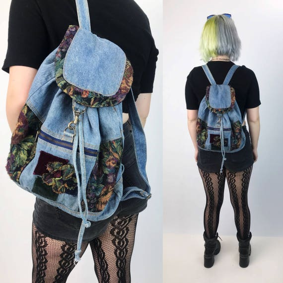 90's Floral Panel Denim Backpack Purse - Denim Hipster Floral Tapestry Backpack Tote - Grunge Paneled Backpack 1990's Aesthetic Jean Purse