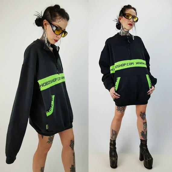 Black HOBOSHOP Sweatshirt XL - Extra Large Athletic Sweat Shirt Hoodie - Zip Up Neon Green Large Logo Mens Baggy Slouchy Oversized Top