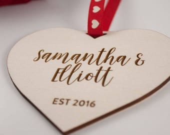 Personalised Love Heart Gift // EST // Laser Cut and Engraved Plywood // Valentines Day