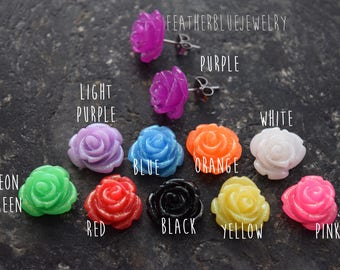 Large 13mm Glitter Flower Pair of Earrings 316L Surgical Steel Post Studs (Choose your flower color)