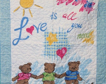 Love Is All You Need Baby Quilt