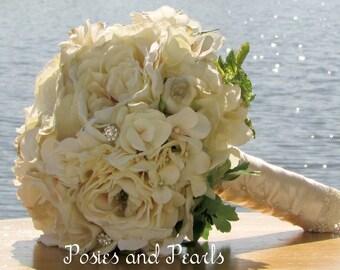 "Cream Ivory Bridal Bouquet, Roses, Hydrangea, Ranunculus, Lace and Rhinestone Crystal Accents, Premium Silk Wedding Flowers, ""New Dreams"""