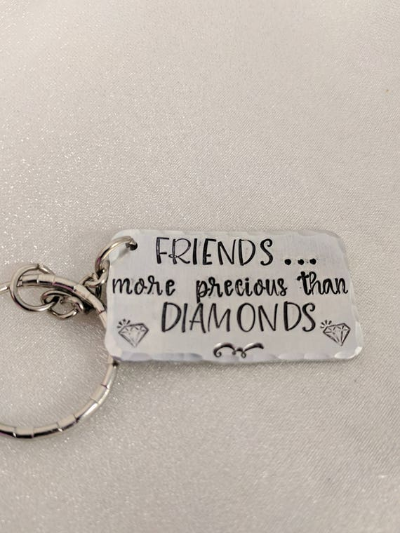 Friends Keychain-Best Friends Keychain-Friend Gift-Friendship Keychain-Metal Stamped Keychain-Gift for Friend-Diamond Friends-Christmas Gift