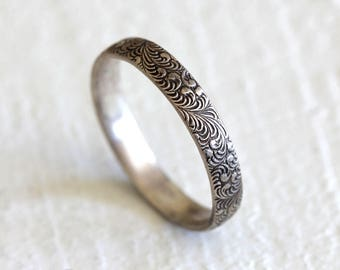 Fern ring silver patterned ring woodland pattern ring - gardener gift