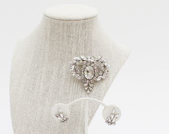 Sherman Clear Rhinestone Brooch and Earrings - Vintage 1950s Rhinestone Set
