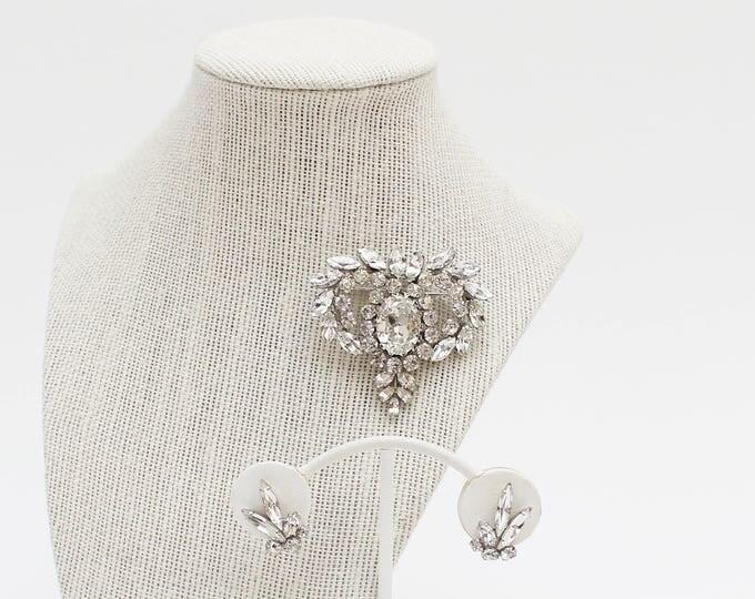 Sherman Clear Rhinestone Brooch and Earrings - Vintage 1950s Rhinestone Set