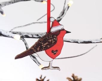 Robin christmas decoration - robin xmas ornament - robin gift - wooden tree decoration - robin tree ornament - robin tree bauble