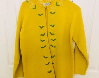Vintage Yellow Wool Jacket/Vintage Wool Coat