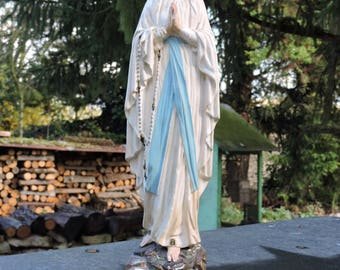 Religious Plaster Statue Virgin Mary - Tall Chalk Madonna Sculpture - Christian Art Figurine - Devotional Statue Saint Vierge 15'/38cm Tall