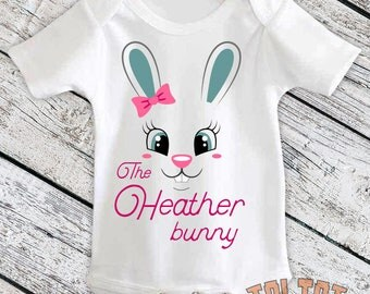 Custom Name, Baby Bodysuit, Personalized Easter Outfit, Custom Easter Bunny for Babies, Toddlers, One Piece